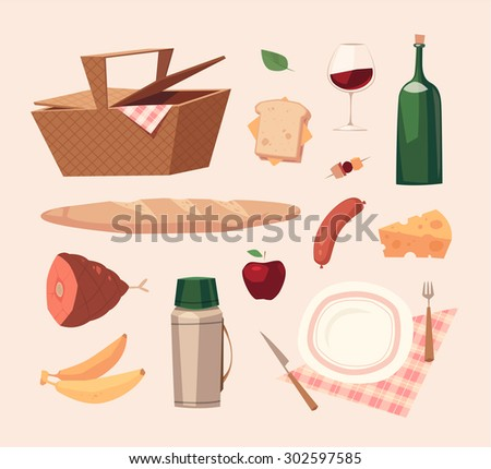 Picnic objects. Vector illustration. - stock vector