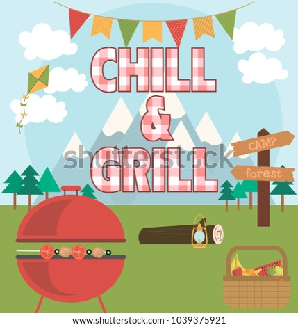 Picnic party invitation card vector illustration stock vector 2018 picnic party invitation card vector illustration stopboris Images
