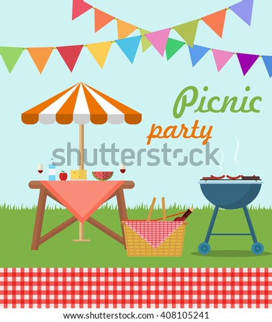 Picnic party poster - stock vector