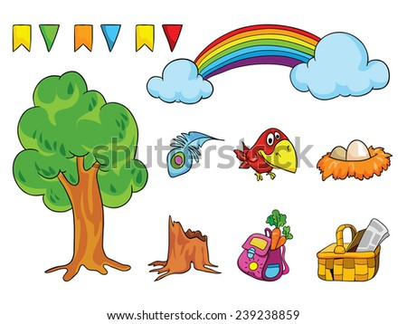 picnic, set of objects 2, vector illustration on a white background - stock vector