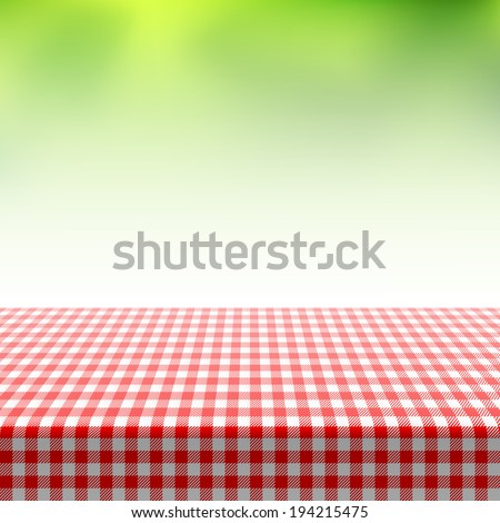 Picnic table covered with checkered tablecloth. Vector. - stock vector