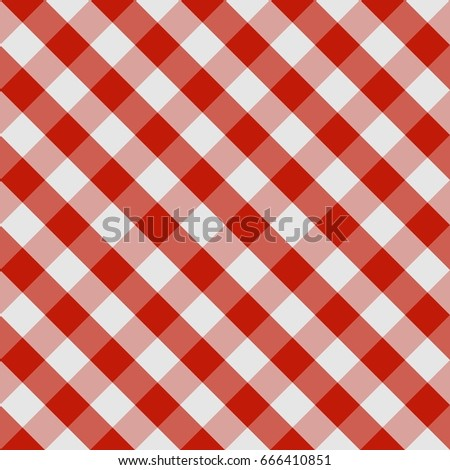Picnic tablecloth seamless checkered pattern in red and white tones. Vector image.