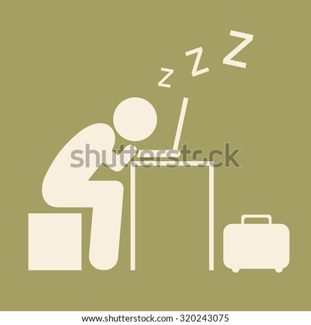 Pictogram Businessman work Sleeping on Computer isolated on brown background. Vector illustration