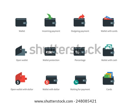 Pictogram collection of finance and money, cards, cash, moneybag, incoming and outgoing payment. Flat design style icons set. Isolated on white background. - stock vector
