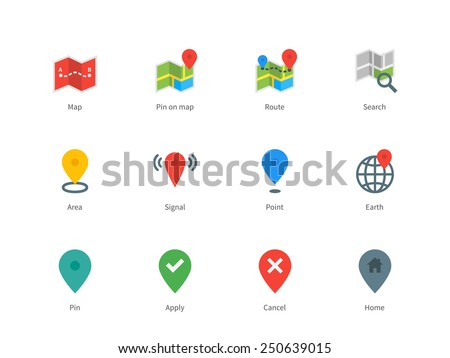 Pictogram collection of GPS and navigation, point, pin, map, search direction for navigators and coordinates. Flat design style color icons set. Isolated on white background. - stock vector
