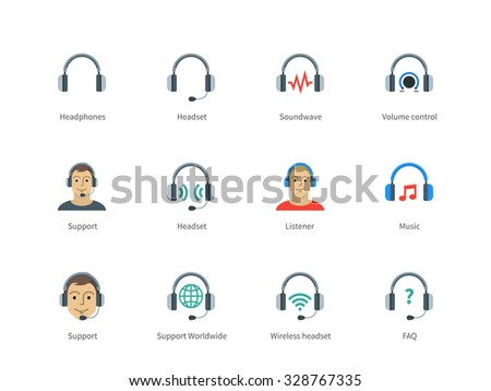 Pictogram collection of Headphones and Support, Headset, Sound wave, Volume control and Listener for Website Call-centre and Support center. Flat color icons set. Isolated on white background. - stock vector