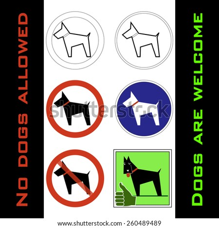 pictogram - Dog allowed and not allowed, black dog on round and square bases in white, red, blue and green - stock vector