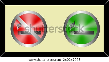 pictogram - No smoking and smoking area symbols in metallic green and red button - stock vector