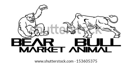 Pictogram of a Bear and a Bull for the concept of Financial Stock Market.  - stock vector