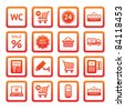 Pictogram set, supermarket services. Shopping Icons. Orange - stock vector