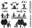 Pictograms representing people spending time in nature in different ways - stock photo
