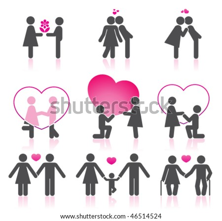Pictograms which represent  couple in love - stock vector