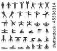 Pictograms which represent yoga exercise - stock