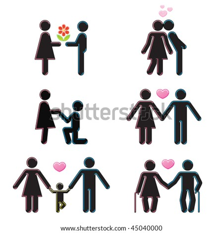 Pictograms which represent young couple in love - stock vector