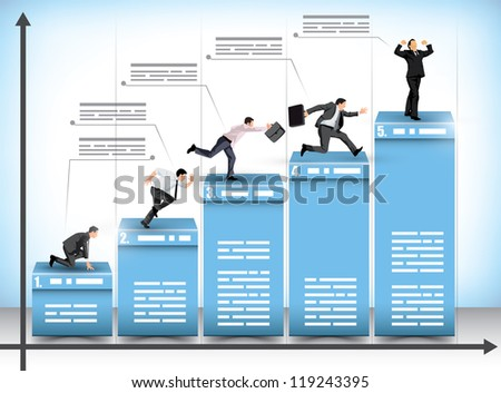 Pictograph business presentation bar graph with businessmen striving to reach the next level in an effort to beat the competition with the winner celebrating his achievement - stock vector