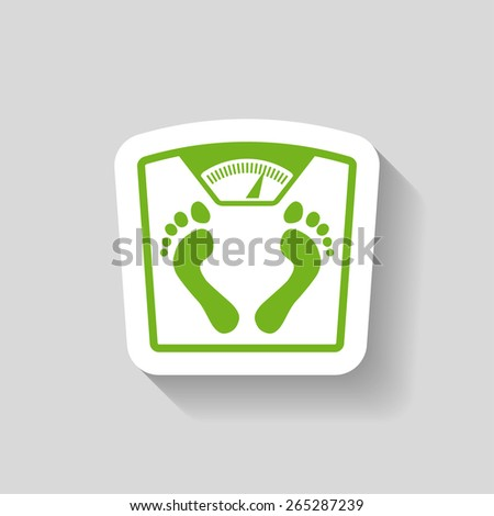 Pictograph of bathroom scale with footprints - stock vector
