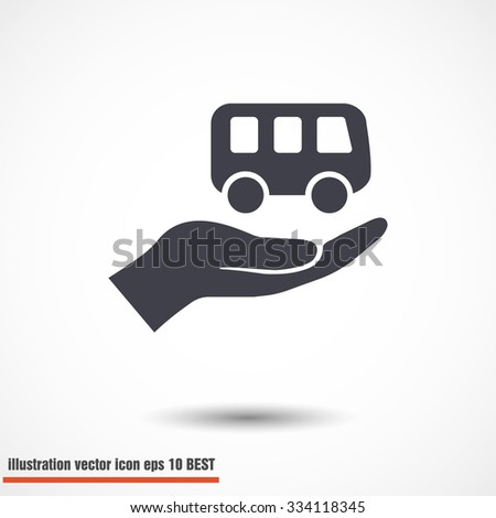 Pictograph of bus in hand. Vector icon 10 EPS - stock vector