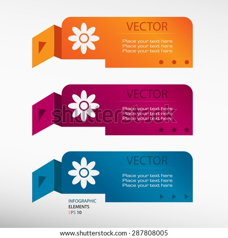 Pictograph of flower on origami paper banners. Can be used for workflow layout, diagram, business step options, banner, web design. - stock vector