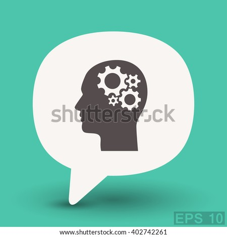 Pictograph of gear in head. Vector concept illustration for design. Eps 10 - stock vector