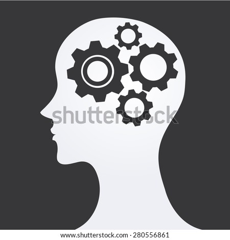 Pictograph of gear in head.-Vector illustration