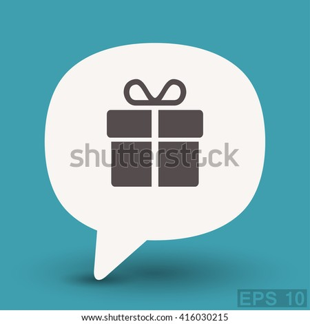 Pictograph of gift - stock vector