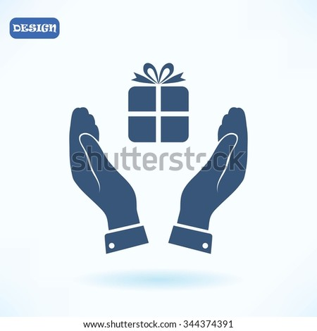 Pictograph of gift icon - stock vector