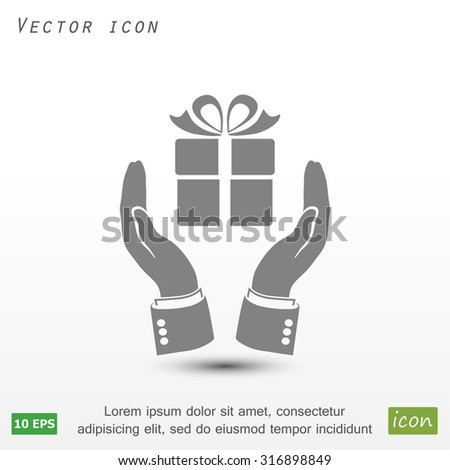Pictograph of gift icon. Vector  Eps 10  - stock vector