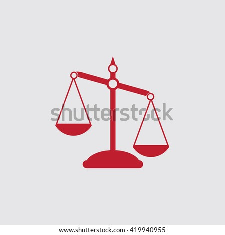 Pictograph of justice scales. - stock vector