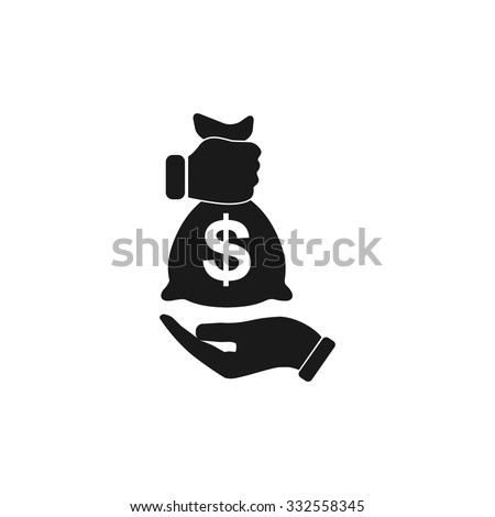 Pictograph of money in hand. Flat design style eps 10 - stock vector