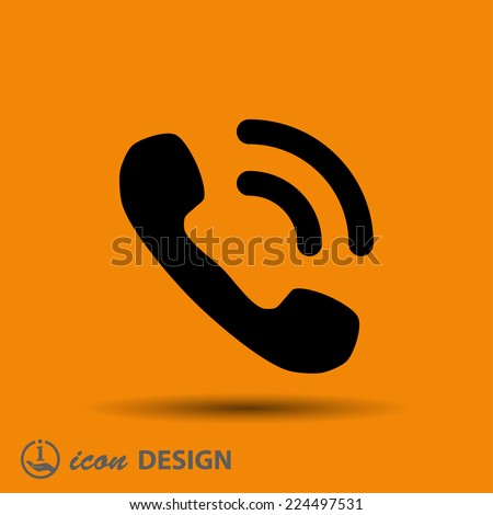 Pictograph of phone - stock vector