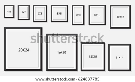 common picture frame sizes photo frame standard picture size area stock vector 28836