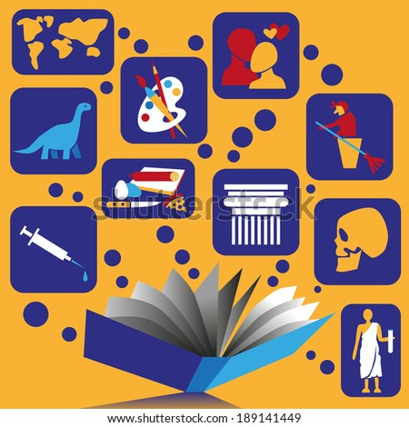 Picture book on an orange background with the knowledge around. - stock vector