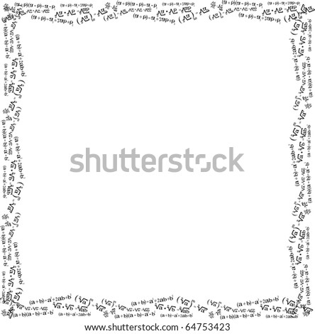 Picture frame, mathematical formulas,on a white background - stock vector