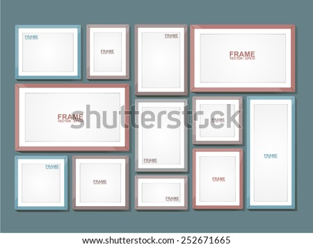 Picture frame vector. Photo art gallery on blue wall - stock vector