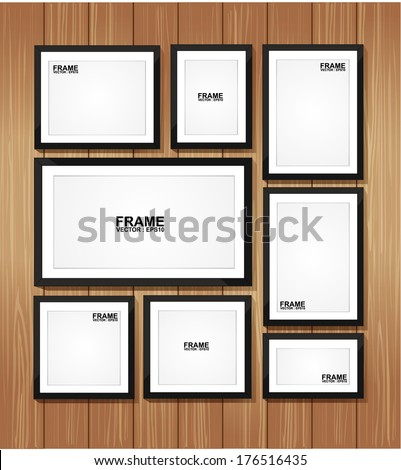 Picture frame vector. Photo art gallery on wood wall.  - stock vector