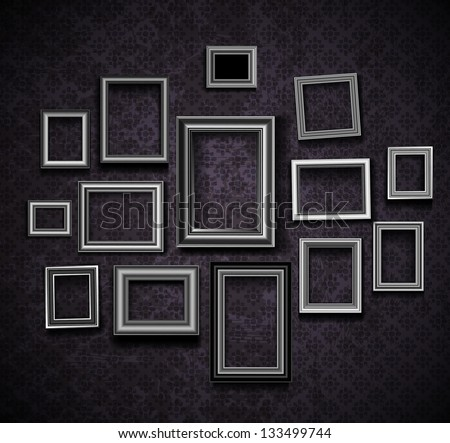 vintage wall frames. Picture frame vector  Vintage photo frames on old wall Frame Vector Photo Frames Stock 133499744