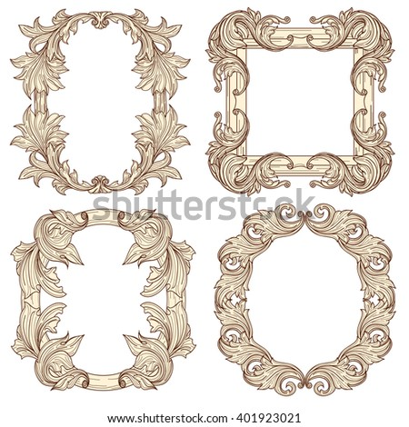 Picture frames in baroque antique style. Vintage decorative  retro engraving. Vector illustration - stock vector