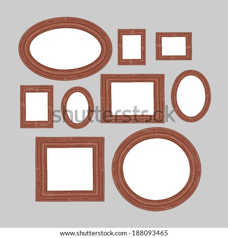 Picture frames or art gallery on vintage wall. Vector illustration.  - stock vector