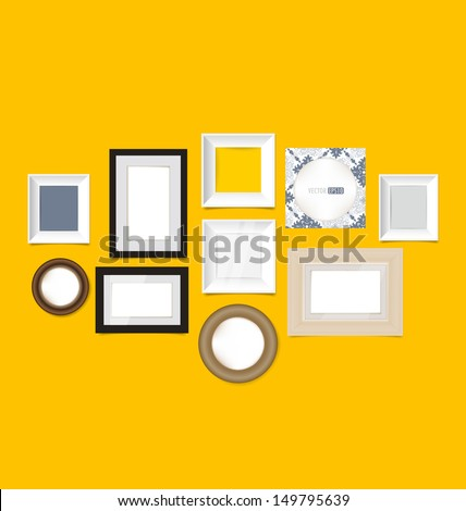 Picture frames, photo art gallery on vintage wall. Vector EPS10 - stock vector