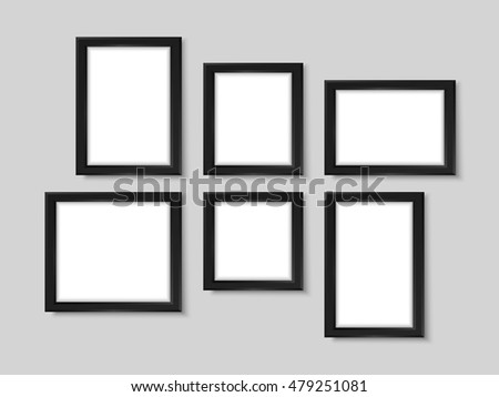 picture frames on wall simple. Picture Frames. Realistic Wall Photo Gallery Vector Illustration. Photoframes Mockup. Empty Simple Frames On Q