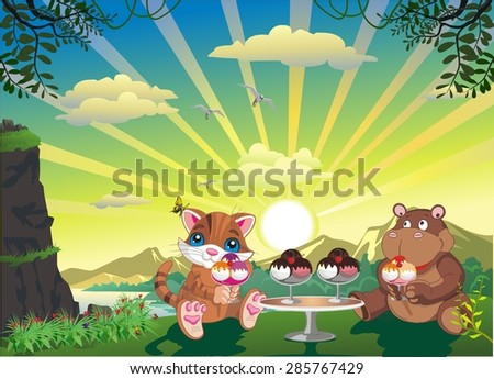picture - kitten and hippo with ice cream outdoors