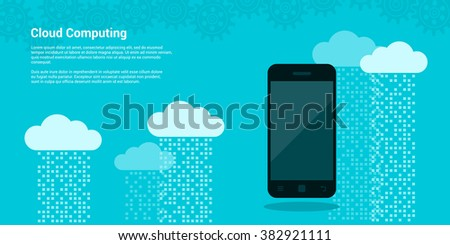 Picture mobile phone and clouds with data streams on background, cloud computing, cloud service concept, flat style illustration - stock vector