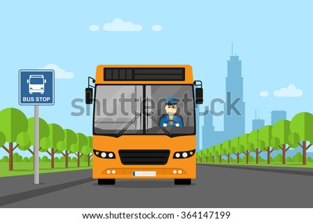 picture of a bus with bus driver inside, standing on bus stop, flat style illustration - stock vector