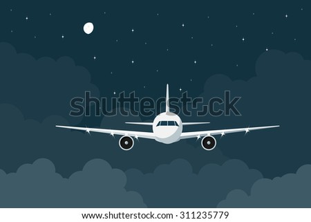 picture of a civilian plane flying in the night above the clouds, flat style illustration