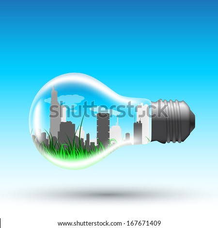 picture of a light bulb with modern big sity inside, vector eps 10 illustration - stock vector