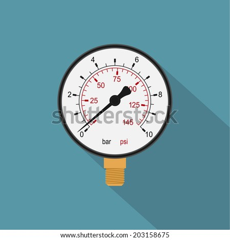 picture of a manometer, flat style icon - stock vector