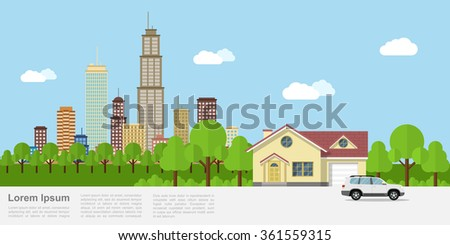 Picture of a private house with big city on background, flat style banner design - stock vector