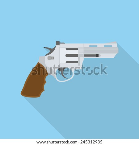 picture of a revolver, flat style illustration - stock vector