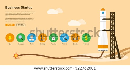 picture of a rocket with flaming safety fuse and with icons, flat style concept for business startup, new product or service launch