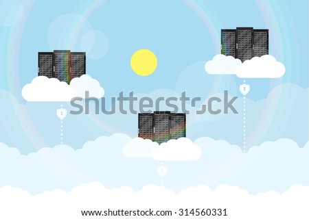 picture of a servers placed on clouds with lines from ground, flat style concept for cloud computing theme - stock vector